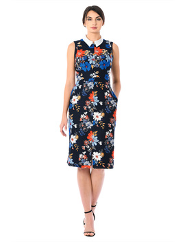 Split Neck Floral Print Cotton Sheath Dress by Eshakti