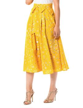 Floral Print Crepe Paperbag Waist Skirt by Eshakti