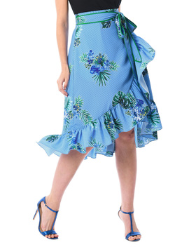 Ruffled Dot Floral Print Crepe Skirt by Eshakti