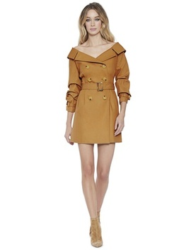 Candace Off Shoulder Trench Coat by Alice And Olivia