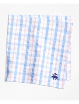 Plaid Seersucker Pocket Square by Brooks Brothers