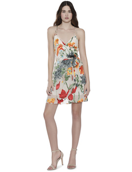 Susana Multi Strap Mock Wrap Short Dress by Alice And Olivia