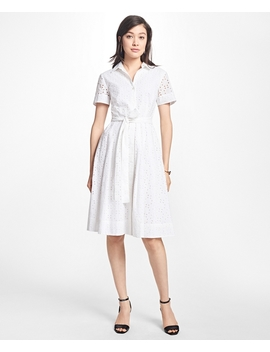 Cotton Eyelet Shirt Dress by Brooks Brothers