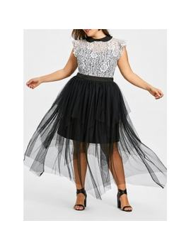 Plus Size Cap Sleeve Tiered Tulle Dress by Dress Lily