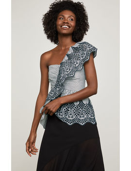 One Shoulder Embroidered Peplum Top by Bcbgmaxazria