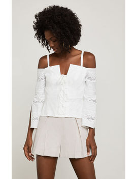 Cold Shoulder Lace Up Top by Bcbgmaxazria