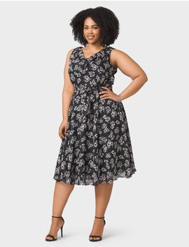 Plus Size Belted Drape Neck Floral Chiffon Dress by Dressbarn