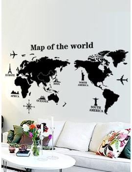 Map Of The World Wall Sticker by Romwe