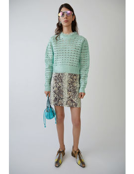 Printed Mini Skirt Ripped Snake Mint / Lilac by Acne Studios