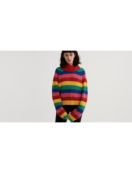 Lazy Oaf Rainbow Roll Neck Sweater by Lazy Oaf