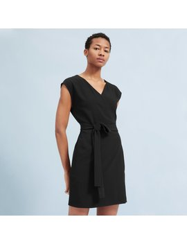 The Japanese Go Weave Short Sleeve Mini Wrap Dress by Everlane