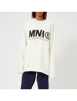 Mm6 Women's Logo Basic Sweatshirt   Off White by Mm6