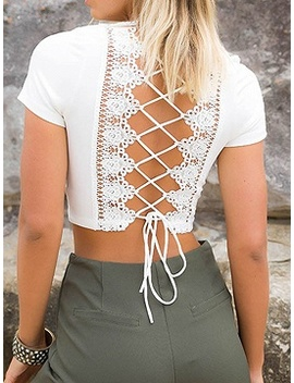 White Plunge Lace Panel Lace Up Back Crop Top by Choies