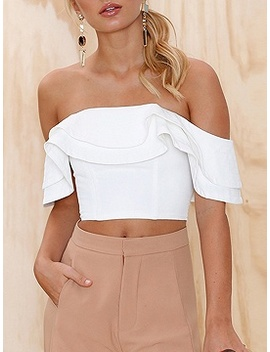 White Off Shoulder Ruffle Trim Crop Top by Choies