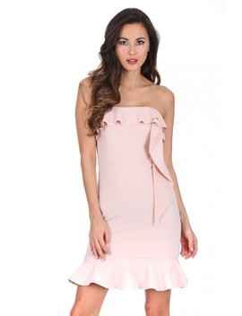 Nude Bandeau Frill Detail Dress by Ax Paris