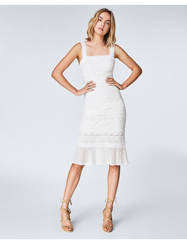 Lace Combo Trumpet Dress by Nicole Miller