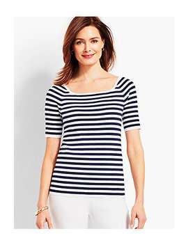 Square Neck Elbow Sleeve Sweater Topper Resort Stripe by Talbots