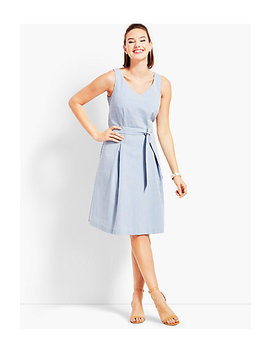 Belted Seersucker Fit And Flare Dress by Talbots