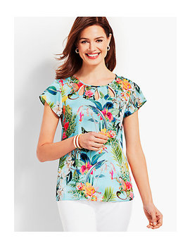 Flutter Sleeve Teardrop Cutout Top by Talbots