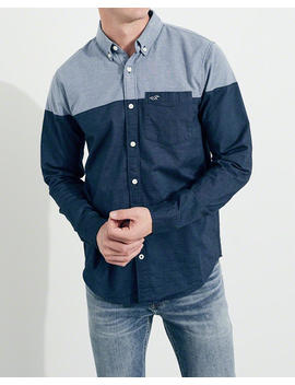 Stretch Colorblock Oxford Shirt by Hollister