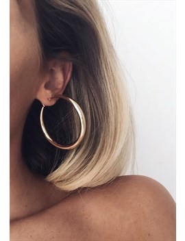 Thick Crescent Hoop Earrings  Gold by Pretty Lavish