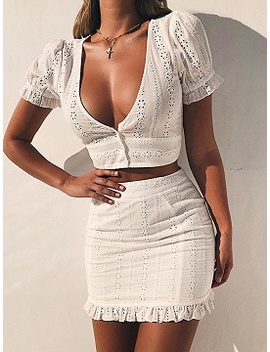 White Plunge Cut Out Detail Crop Top And High Waist Mini Skirt by Choies