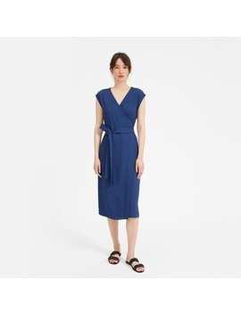 The Japanese Go Weave Short Sleeve Wrap Dress by Everlane