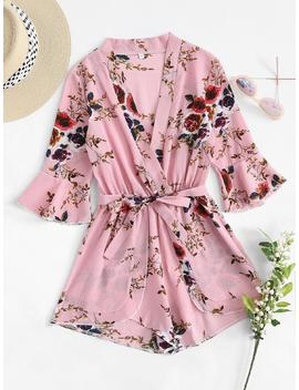 Fluted Sleeve Floral Print Surplice Romper With Belt by Romwe