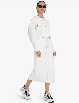 Contrast Stitch White Denim Skirt by Pixie Market