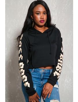 Sexy Black Hoodie Cropped Sweater by Ami Clubwear
