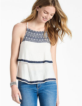 Blue & White Embroidered Tank by Lucky Brand