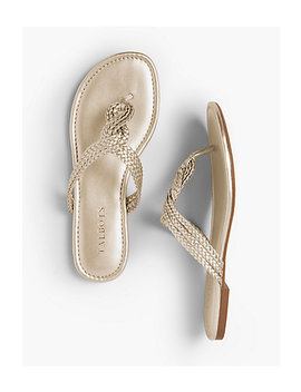 Cece Braided Thong Sandals   Faux Metallic Nappa by Talbots