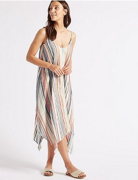 Cotton Rich Striped Midi Dress With Linen by Marks & Spencer