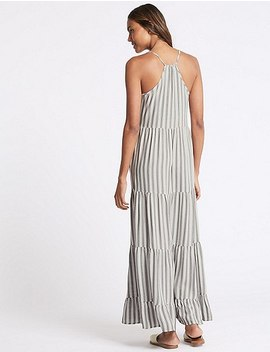 Striped Strap Drop Waist Maxi Dress by Marks & Spencer