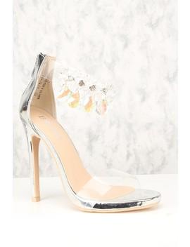 Sexy Silver Gemstone Ankle Strap Single Sole High Heels by Ami Clubwear