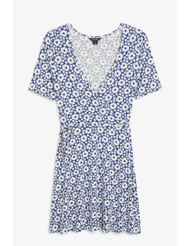 V Neck Wrap Dress by Monki