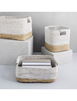 Two Tone Woven Baskets   Natural/White by West Elm