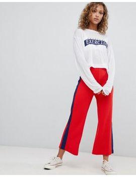 pull&bear-side-stripe-wide-leg-culotte-in-red by pull&bear
