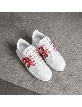 Graffiti Print Leather Sneakers by Burberry