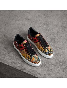 Graffiti Print Vintage Check Sneakers by Burberry