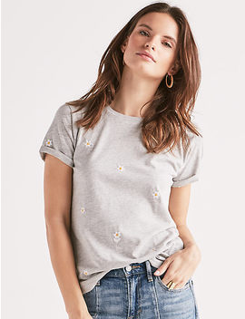 All Over Embroidered Daisies Tee by Lucky Brand