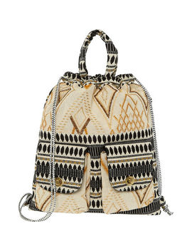 Black, Cream & Gold Woven Backpack by Burin