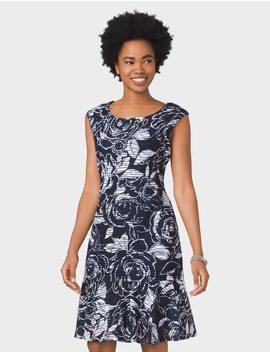 Graphic Floral Print Dress by Dressbarn