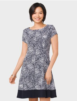 Knit Geometric Print Dress by Dressbarn