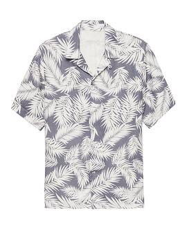 Camden Standard Fit Linen Palm Print Camp Shirt by Banana Repbulic