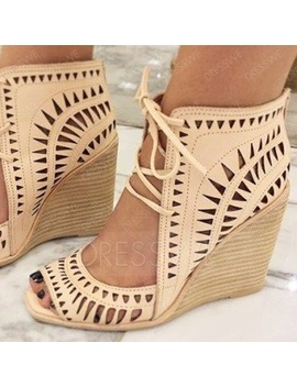 Wedge Sandals Hollow Cutout Lace Up Shoes by Dress We