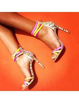 Heel Sandals Color Block Peep Toe Stilettos by Dress We
