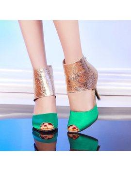 Peep Toe Patchwork Thin Heel Women's Sandals by Dress We