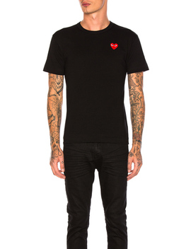 Red Heart Emblem Cotton Tee by Comme Des Garcons Play