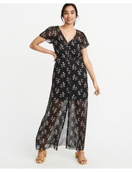 Button Chiffon Maxi Dress by Abercrombie & Fitch